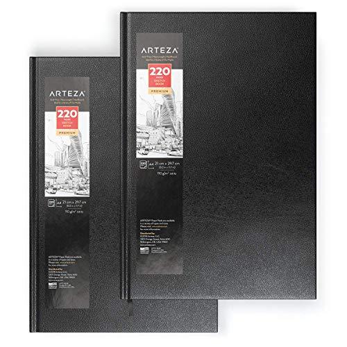 ARTEZA Hardcover-Skizzenbuch | A4 (210 x 297mm) 2er-Pack je 220 Blatt | Mittelschweres Zeichenpapier...