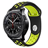 For Gear S3 Strap, iBazal Gear S3 Frontier/ Classic Band Soft Silicone Band Replacement Sport Band 22mm Adjustable Bracelet with Ventilation Holes for Samsung Gear S3 Frontier/Classic - Black/Fluorescent Yellow