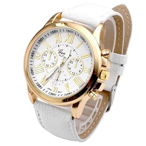 Valentinstag Uhren DELLIN Neue Damenmode Genf römischen Ziffern Kunstleder analoge Quarz-Armbanduhr (Weiß)