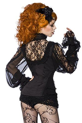 Schwarze transparente Bluse aus Spitze mit Rüschenelementen und schmalem Stehkragen Steampunk Gothic Schwarz