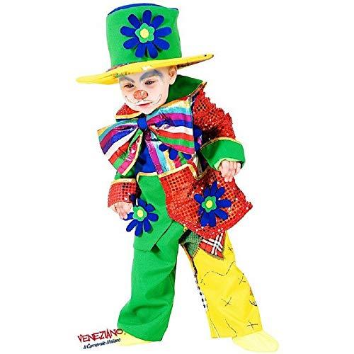 Veneziano novidea costume vestito carnevale bambino baby pagliaccio 12 18 24 mesi 1 2 anni (12/18 mesi)