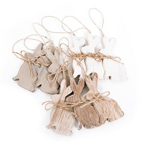 9naturale legno osterhasen 10cm bianco beige marrone: osterhasen lepri-gioielli-ciondolo zur osterdeko coniglio, legno decorazione a pasqua come altri pendente in nest shabby chic
