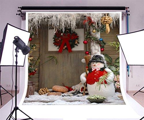 to Hintergrund Weihnachten Vinyl Girlande Bälle Schneemann Kürbis Tür Weihnachtsdekoration Fotografie Hintergrund Foto Leinwand Kinder Fotostudio 150x150cm ()