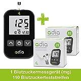 adia Diabetes-Starter-Set inkl. Blutzuckermessgerät [mg/dl] mit 110 Blutzuckerteststreifen – günstig Blutzucker messen!