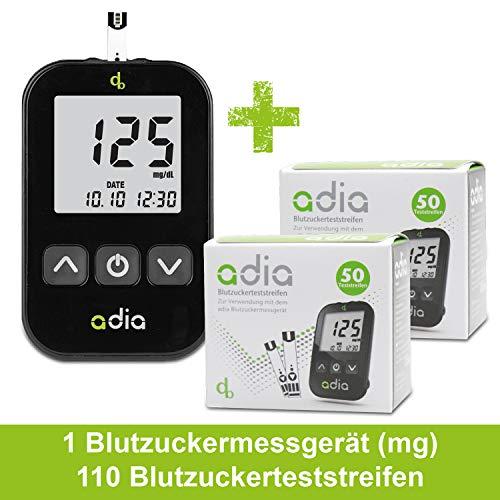 Adia Diabetes-Starter-Set inkl. Blutzuckermessgerät (mg/dl) und 110 Blutzuckerteststreifen, Stechhilfe und 10 Lanzetten