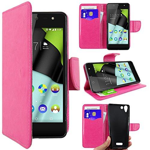 ebestStar - Wiko Selfy 4G Hülle Kunstleder Wallet Case Handyhülle [PU Leder], Kartenfächern, Standfunktion, Pink [: 141 x 68.4 x 7.7mm, 4.8'']