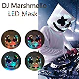 Elmetto Marshmello Finemente, Maschera da DJ Marshmello per Kid/Adulto, LED Marshmello Maschera da DJ Head Full Head, Cosplay Marshmallow Party Bar Musica Prop Maschere in Lattice