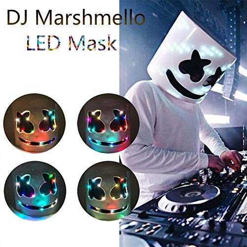 finelyty Marshmello Helm, DJ Marshmello Maske für Kinder/Erwachsene, LED Marshmello DJ Maske Vollkopfhelm, Cosplay Marshmallow Party Bar Musik Prop Latex Masken