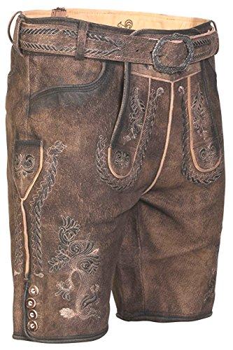 kurze Trachten Lederhose Samuel incl. Gürtel von MarJo Trachten, Größe:56;Farbe:rocky