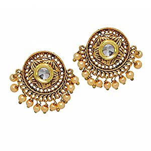 Artifcial Golden Pearl Studded Round Kundan South Indian Jewelry Stud Earrings