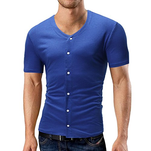Preisvergleich Produktbild UFACE Herren Kurzarm Einfarbig Knopf Kurzarm T-Shirt V-Neck Solid Knopf T-Shirt Kurzarm Top Bluse (2XL, Blau)