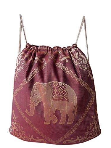 Turnbeutel, Sportbeutel, Rucksack aus Baumwolle, gewebt mit Elefanten Muster - verschiedene Farben Rot