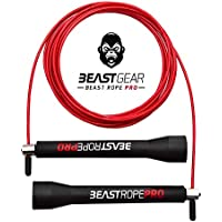 Beast Gear Beast Rope Pro Advanced Speed Skipping Rope for Fitness, Conditioning & Fat Loss. Ideal for Crossfit, Boxing, MMA, HIIT, Interval Training & Double Unders
