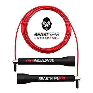 Beast Rope Pro by Beast Gear – Advanced Speed Skipping Rope for Fitness, Conditioning & Fat Loss. Ideal for Crossfit, Boxing, MMA, HIIT, Interval Training & Double Unders