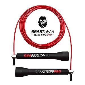 Beast Gear – Beast Rope Pro Profi Springseil – Speed Rope für Fitness, Ausdauer & Abnehmen. Ideal für Crossfit, Boxen, MMA, HIIT, Intervalltraining & Double Unders