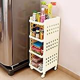 Kurtzy Vertical Rack 4 Layer Storage Organizer with wheels for Kitchen(OffWhite)