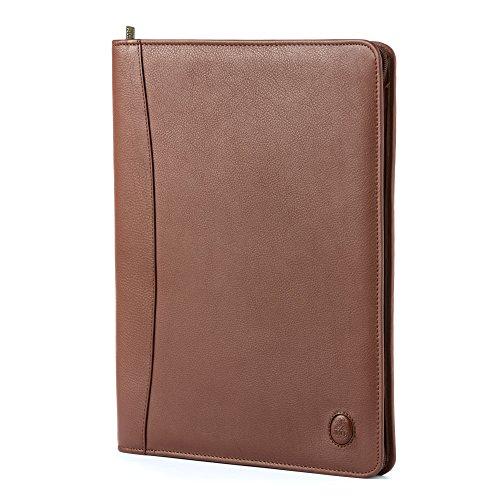 Serviette en cuir porte-documents et bloc-notes Nuvola Pelle Brun foncé