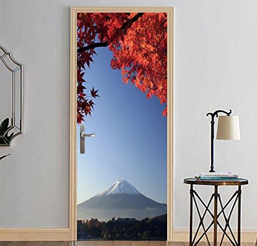 LJIEI Türtapete selbstklebend TürPoster wasserdichte 3D Kreative Tür Aufkleber Selbstklebende Papier Dekoration Schlafzimmer Wohnzimmer Wandaufkleber Tür Aufkleber Mount Fuji (90X200) -