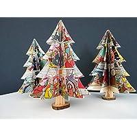 """3er-Set Deko""""großer Tannenbaum"""" aus Comicseiten/Tischdeko/Weihnachtsdeko/Christbaum/Weihnachtsbaum"""