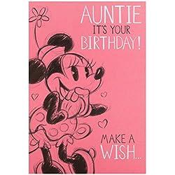 Hallmark Minnie Maus Geburtstagskarte für Tante, mit Aufdruck Make a Wish, mittelgroß