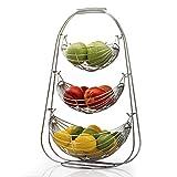 Taylor & Braun® Verchromte schaukelnde Obst-Hängematte Gemüseschüssel Korb Rack Aufbewahrung Ständer Halter Neu, chrom, 3 Ablagefächer