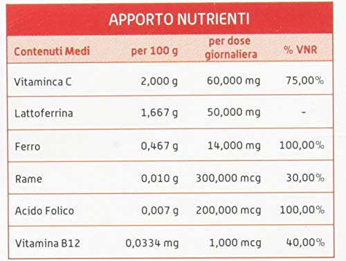 ERAFER +++ 30 Buste - Integratore Alimentare Ferro, Rame, Vitamine B12, C, Acido Folico e Lattoferrina
