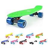 "Hunpta Skateboard Retro Complete Deck Cruiser Skater Skating Plastic Board 22"" ABEC7 (Black)"