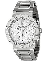 amazon co uk bvlgari watches bvlgari bvlgari off white chronograph dial stainless steel automatic mens watch bb38wssdch n