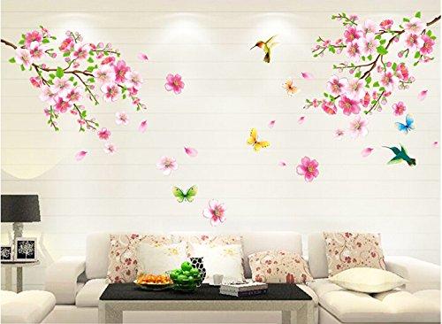 HALLOBO® XXL Wandtattoo Blumen Vogel Schmetterling Wandaufkleber Wandsticker Wall Sticker Wohnzimmer Schlafzimmer Deko Wandtattoos Vögel Und Schmetterlinge