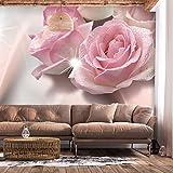 decomonkey | Fototapete Blumen Rosen rosa 350x256 cm XL | Tapete | Wandbild | Wandbild | Bild | Fototapeten | Tapeten | Wandtapete | Wanddeko | Wandtapete | weiß Abstrakt silber
