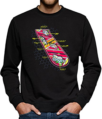 Doc Marty Brown Mcfly Kostüm Und (TLM Hoverboard Skateboard Sweatshirt Pullover Herren L)