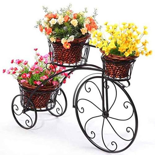 JJJJD Schmiedeeisen Fahrrad Blumenständer, 3 Tiered Pflanze Blumentopf Stehen Moderne Dekorative Garten Terrasse Kleine Fahrradständer Hält 3 Blumentopf (Color : Black)