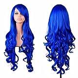 Peluca de pelo ondulado para mujer, de Tianya, con flequillo, azul...
