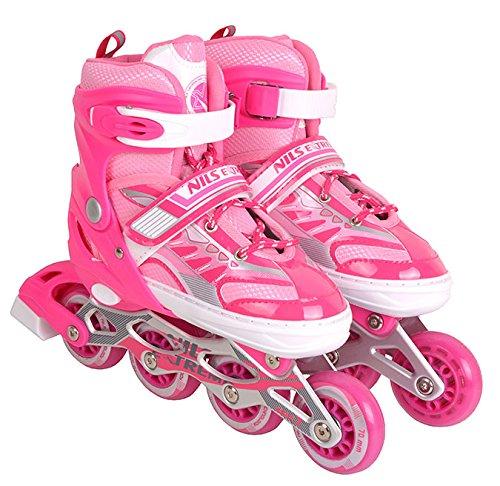 Inlineskates Inline-Skates Inliner Rollschuhe verstellbar Sport S M L NJ1828 (Pink, S)
