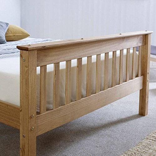 Happy Beds Somerset Solid Waxed Pine Wooden Bed Bedroom Furniture Frame 4'6'' Double 135 x 190 cm