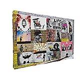 Bild auf Leinwand - Banksy Graffiti Art Collage - Fotoleinwand24 / AA0447 / bunt / 100x70 cm