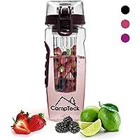 CampTeck 1 Litre 100ml Bouteille à Infusion (Sans BPA Plastique Tritan) Gourde Infuser Fruit avec Couvercle Antifuite + Boucle lock & Poignée de transport - Noir