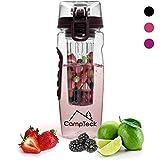 CampTeck 1 Litro 1000ml Frutta Acqua Bottiglia Infusioni Borraccia Infusore (Plastica Tritan Senza BPA) con Coperchio a Prova di Perdite + Chiusura & Impugnatura - Nero