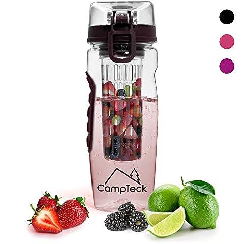 CampTeck 1 Litre 100ml Bouteille à Infusion (Sans BPA Plastique Tritan) Gourde Infuser Fruit avec Couvercle Antifuite + Boucle lock & Poignée de transport -
