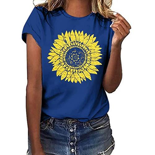 DIPOLA Damen Tops Sommer Sunflower Print Tasche Kurzarm Shirt Casual Langarm Tops Kurzarm T-Shirt Sport Top T-Shirt