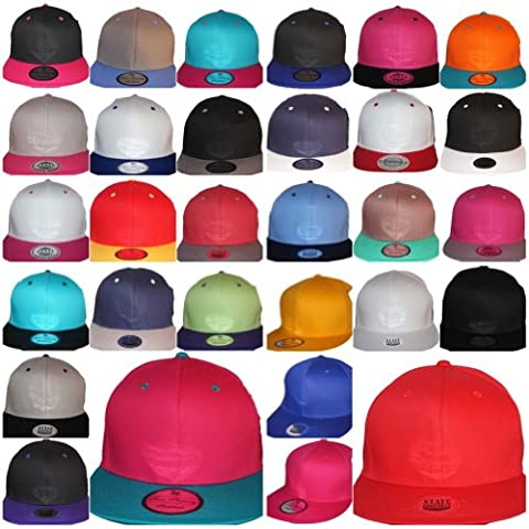 Plain snapback caps, celebrity two tone flat peak snapbacks, hip hop fitted baseball hats, sale, wholesale price, unisex, 30+ colours, mens ladies (white/pink)