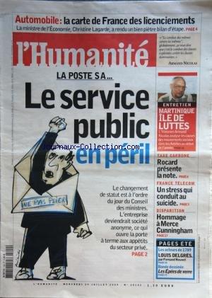 humanite-l-no-20143-du-29-07-2009-auto-la-carte-de-france-des-licenciements-christine-lagarde-la-pos