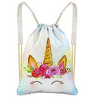 Beinou Unicorn Mermaid Bag Sequin Drawstring Backpack Flip Sequin Bag Dance Bags Sports Outdoor Travel Backpack Bags for Girls Kids