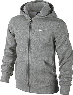 Nike 619069-010 - Sudadera con capucha para niños, color Gris (Dk Grey Heather/White), talla M (talla del fabricante...