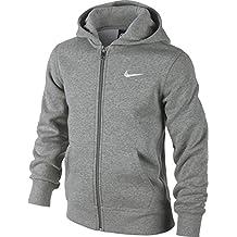 Nike 619069-010 - Sudadera con capucha para niños, color Gris (Dk Grey Heather/White), talla M (talla del fabricante: 10-12 años/137-147 cm)