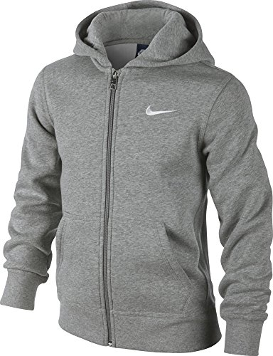 Nike - Young Athletes 76 - Brushed Sweat-shirt à capuche zippé - Enfant - (Gris Foncé Heather/Blanc) - Taille: L (Taille Fabricant: 12-13 Ans/147-158)
