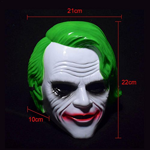 Horrormaske Clownmaske Dark Knight Maske Killer Joker Clown Horror ab 18 Jahre Gruselig Halloween Fashing Karneval Kostüm Erwachsene Grün