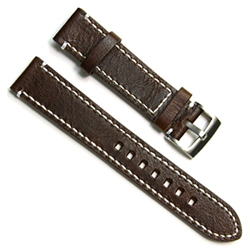 green-olive-23mm-handmade-vintage-cowhide-leather-watch-strap-watch-band-white-stitch-coffee