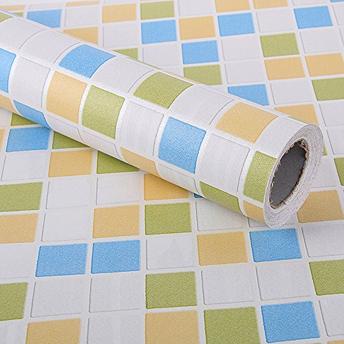 LoveFaye Colorful Mosaic Contact Paper Self-Adhesive Shelf Liner Kitchen Countertop Sticker 17.7 Inch by 9.8 Feet