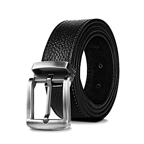 Men's Genuine Leather Belt Casual - Digitek Leather Reversible Belt Classic Jean Belt with Single Prong Buckle